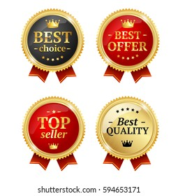 Best Offer or Choice Sale Label Medal Set Metal Badge with Red Ribbon Design Element. Vector illustration