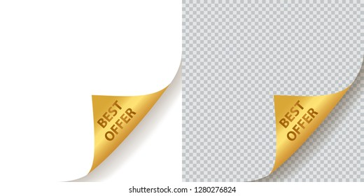 Best Offer - Golden Corners with realistic transparent shadow isolated on white and transparent backgrounds. Paper sheet with gold curled corners set. Vector Design Element.