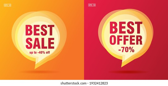 best offer hot summer sale speech bubble with promo text and up to 70 percent off, red and yellow flyer cards