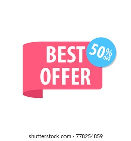 Best offer Label. Isolated on white. Red color. Vector illustration