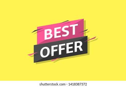 Best offer label. Sale banner template, Vector illustration