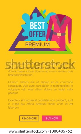 Best Offer Premium Clothes Promo Emblem Stock Vector