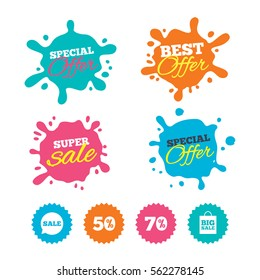 Best offer and sale splash banners. Sale speech bubble icon. 50% and 70% percent discount symbols. Big sale shopping bag sign. Web shopping labels. Vector
