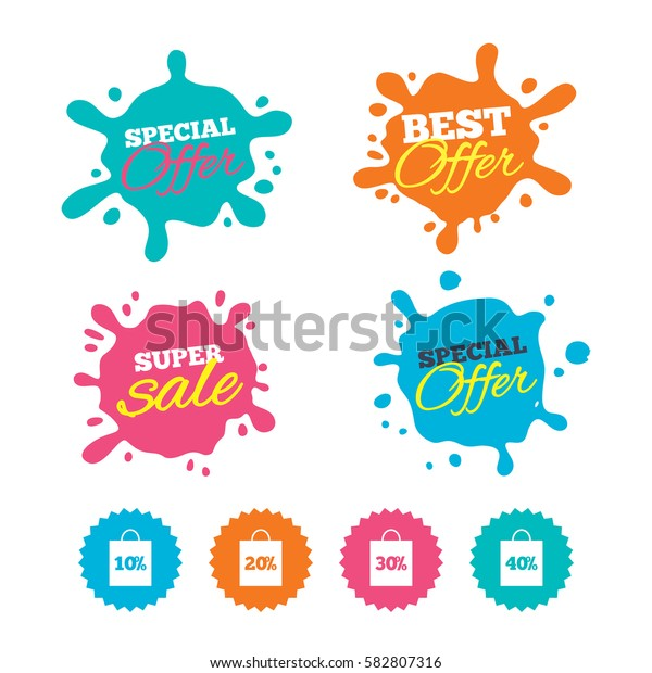 Best offer and sale splash banners. Sale bag tag icons. Discount special offer symbols. 10%, 20%, 30% and 40% percent discount signs. Web shopping labels. Vector