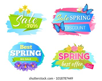 Best offer spring big sale discounts 50% posters set with decorative labels butterfly and springtime flowers daffodils bloom, purple crocus and daisies