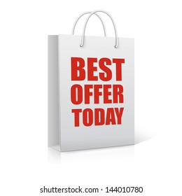 Best offer today, shopping bag,  vector illustration
