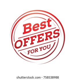 best offers for you illustration, best offers within circle, sign design, isolated on white background.