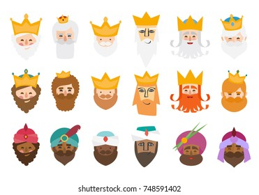The best pack of The three kings of orient isolated. 18 wisemen.