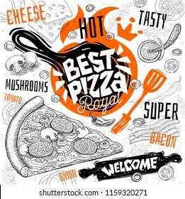 Best pizza master restaurant menu. Vector pizza food flyer cards for bar cafe. Design template, logo, emblem, sign, crown, welcome vintage hand drawn vector illustrations.