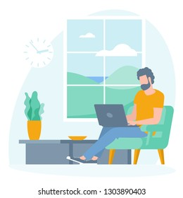 The best place for remote work. Young man is working outsourced sitting on the couch. lat design vector illustration, ready to animation vector concept for web site, presentation, mobile app.