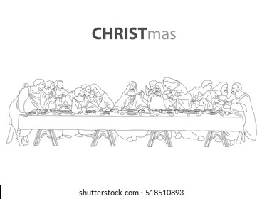 the best popular jesus christ with the last supper sketch drawing outline vector for christmas