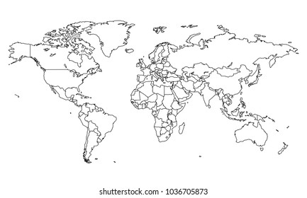 Outline map images stock photos vectors shutterstock best popular world map outline graphic sketch style world map outline gumiabroncs Images