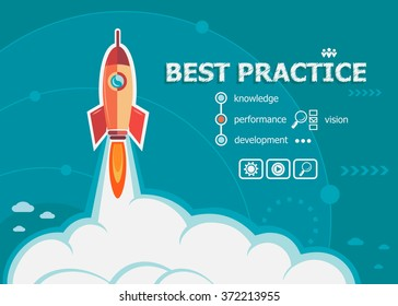 Best practice and concept background with rocket. Project Best practice concepts for web banner and printed materials.