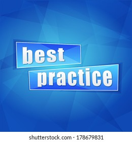 best practice over blue background, flat design, business concept words, vector
