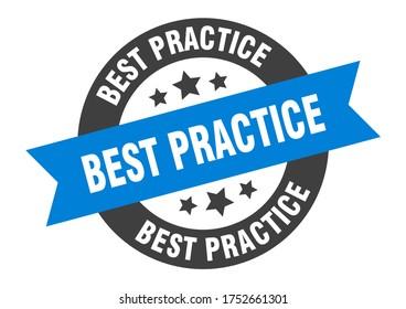 best practice sign. best practice blue-black round ribbon sticker. blue label