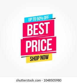 Best Price 50% Off Shop Now Advertisement Label