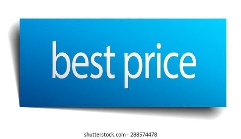 best price blue square isolated paper sign on white