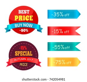 Best price buy now special autumn offer with percent discount on ribbons with different colors and percentages vector illustrations
