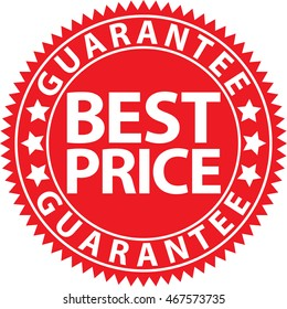 Best price guarantee red sign, vector illustration