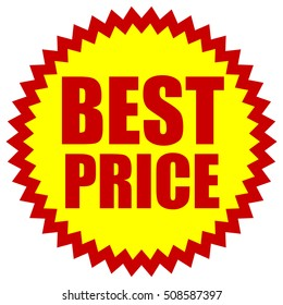 BEST PRICE red yellow promotion starburst badge with text