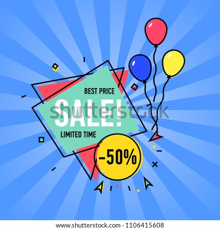 Best Price Sale Poster Air Balloons Stock Vector (Royalty