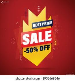 Best price slae banner template design for web or social media, - 50% off.