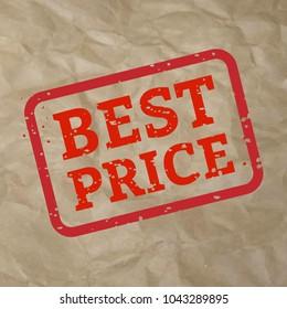 Best Price Stamp Sign Cardboard, Vector Illustration