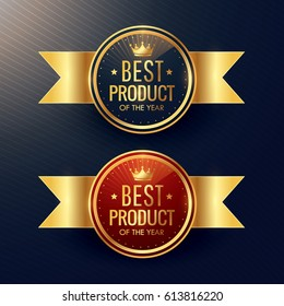 best product golden label and badge set with crown symbol