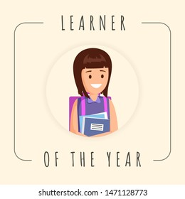Best pupil vector banner template. Cute girl, female pupil, schoolkid photograph in frame. School motivational poster recognizing schoolgirl study achievements, high results, social activities