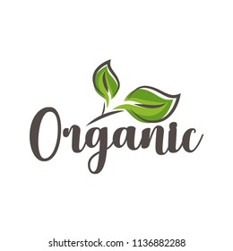 Best quality healthy food logo. Premium quality, vegan, green life, organic products. Calligraphy, logo