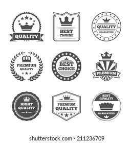 Best quality high premium value superior brands  individual labels with royal crown emblems collection isolated vector illustration