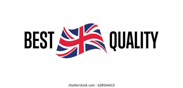 Best quality label for england products vector illustration isolated on white background. Exporting sticker with british flag, certificate element