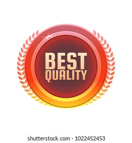 Best quality quarantee badge, stamp, sticker. 100% hardened steel circle vector sign or medal