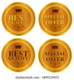 Best Quality and Special offer seal label isolated on white background. Gold best quality and Special offer.