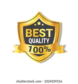 Best Quality Sticker Golden Shield With Ribbon Badge Or Seal Isolated Vector Illustration