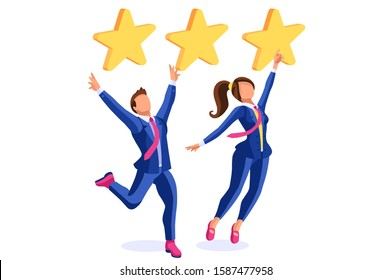 The best quality support to give success, satisfaction and good customer choice. Rating for business, consumer rate on website to chose positive stars for the application. Flat style cartoon vector.