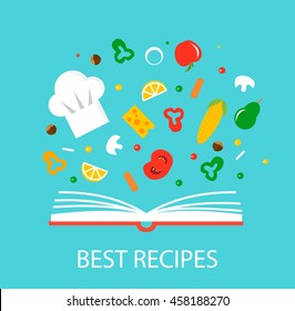 Best recipes concept with cookbook and flying food ingredients, vector illustration