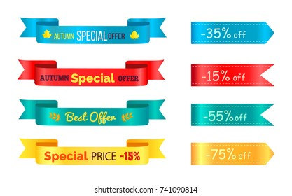 Best sale 2017 autumn discount buy now hot price promo posters with percent signs, advertisement ribbons labels with vector isolated on white
