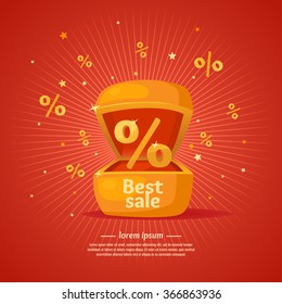 Best sale banner. Gift box in cartoon style. Original concept poster discount sale. Vector illustration on red background.
