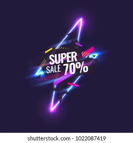 Best sale banner. Original poster for discount. Geometric shapes and neon glow against a dark background. Vector illustration.