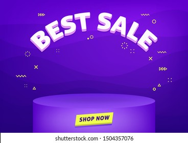 Best sale banner template. Cheap shopping, low price store promo illustration. 3D text on futuristic abstract background.