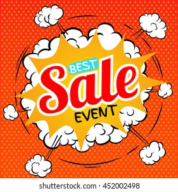 Best sale event. Vector illustration in pop art style.