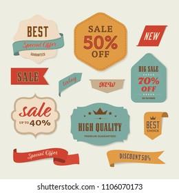 Best sale label and special offer vintage retro banner design.