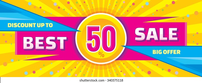 Best sale vector banner. Discount up to 50% layout. Abstract background. Concept flyer. Big offer. Horizontal poster.