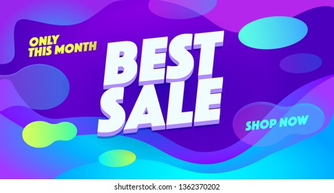 Best sale vector banner template. Cheap shopping, low price store promo illustration. Temporary offer, limited time sell out, discount advertising. 3D text on futuristic abstract background