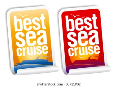 Best sea cruise stickers set.