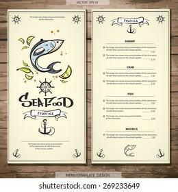 Best seafood menu design. Vector. eps 10