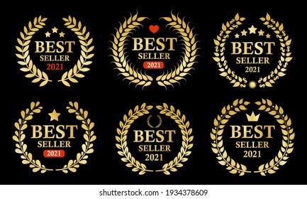 Best seller 2021 award label with laurel wreath. Best product advertising badges collection.