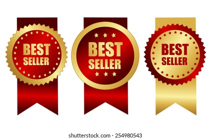 Best seller award ribbons in elegant gold and red / maroon color specially for web site business promotion campaigns