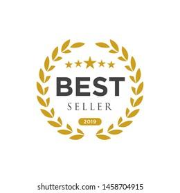 Diseño del logo de la insignia del mejor vendedor. Vectorial del mejor vendedor aislado